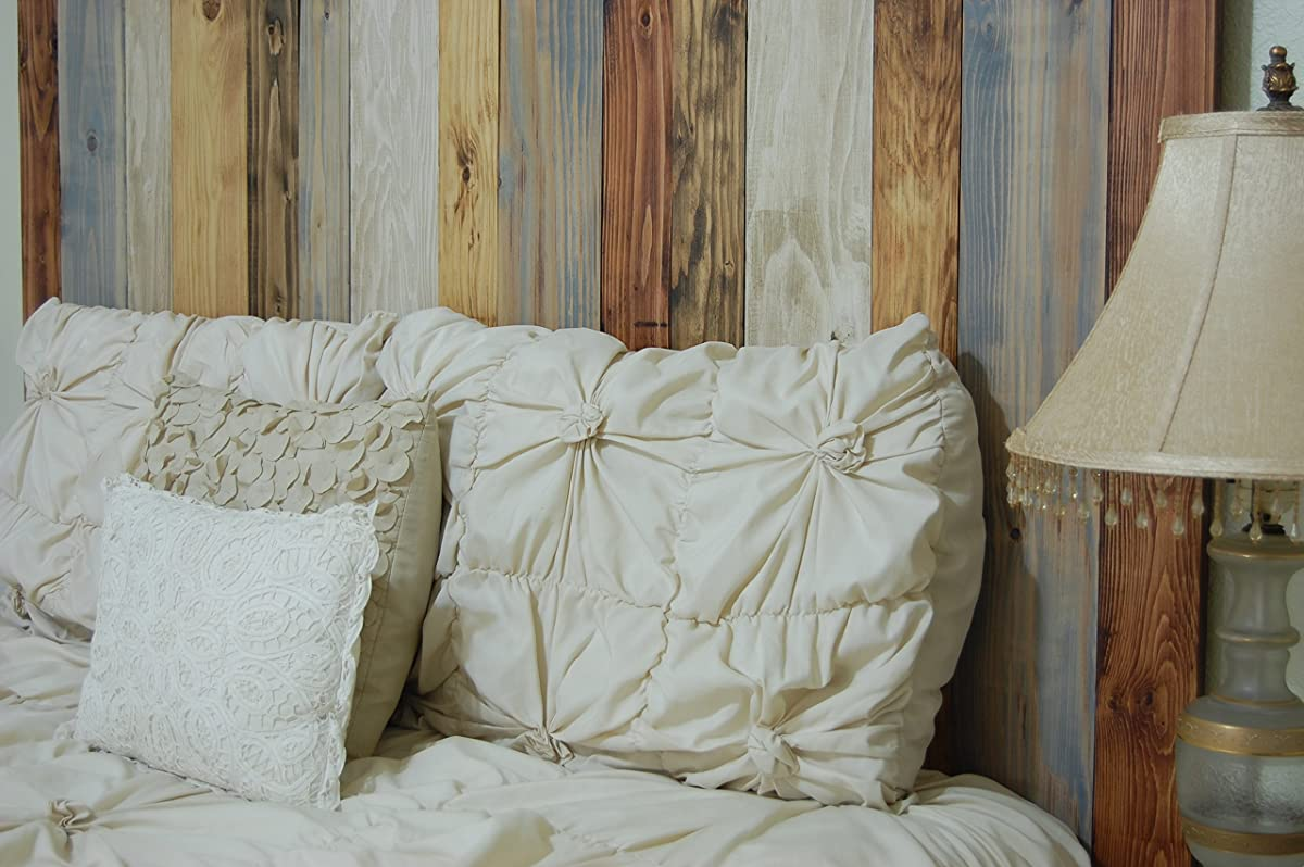 Rustic Mix Design - King Size Hanger Handcrafted Headboard. Mounts on Wall. Easy Installation.