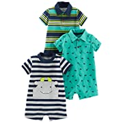 Simple Joys by Carter's Baby Boys' 3-Pack Rompers, Blue Stripe/Turquoise Dino/Grey Navy, 6-9 Months