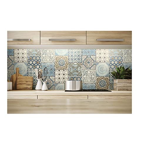 NextWall Moroccan Style Peel And Stick Mosaic Tile Wallpaper Blue Copper Grey