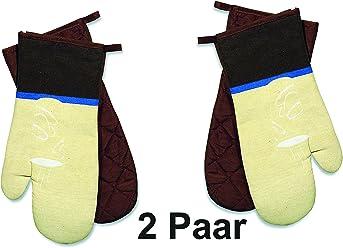 2er Set Backhandschuh Ofenhandschuhe COLOR DOTS GRÜN Baumwolle Neopren