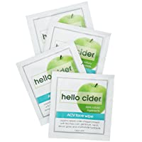 Apple Cider Vinegar Acne Face Wipes-Organic Tea Tree+Rose+Chamomile+Witch Hazel Hydrosols. Great for Teens. Anti-blemish. Balance pH. Tone. Hydrate. Cleanser & Moisturizer, 25 ct Hello Cider