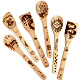 Riveira Organic Wooden Spoons for Cooking Utensils Set 6-Piece Magic Wizard Harr Potter Kitchen Utensils Gift Spatulas for No