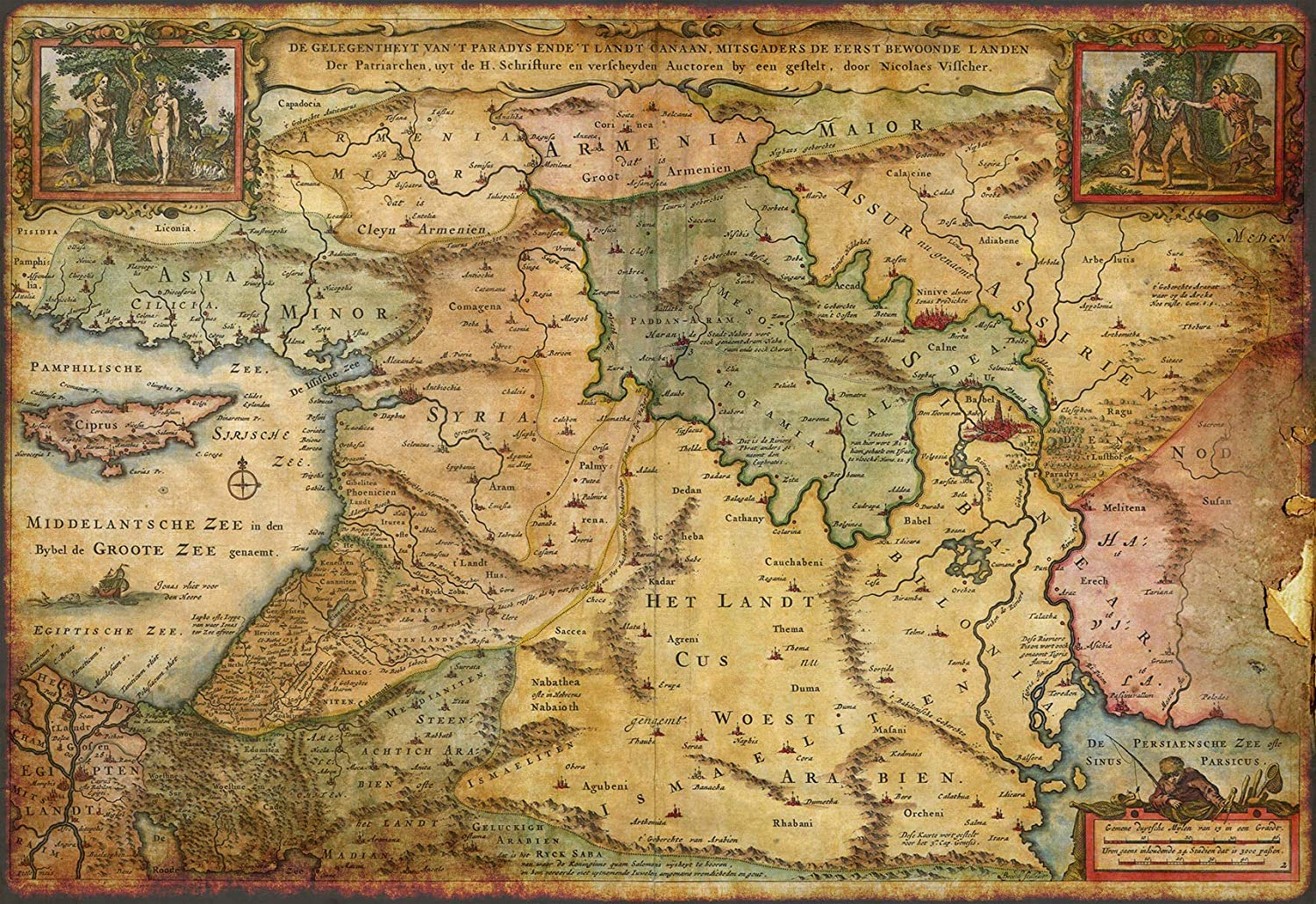 Vintage Maps :: Earthly Paradise 1657 – Wall Map of The Holy Land