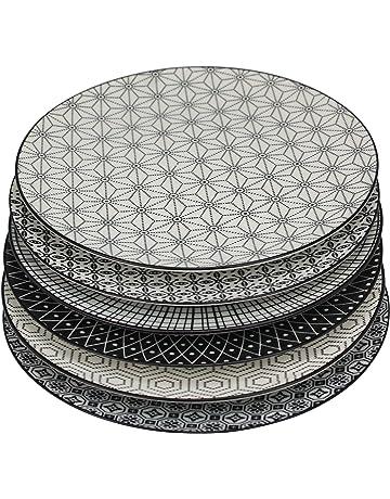 AmazonBasics Service de table 18 pièces - pour 6 personnes · Ard Time -  Komaé Lot de 6 Assiettes Céramique Noir Blanc 0a842749cb92