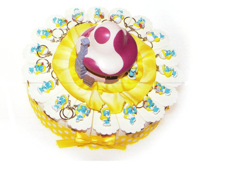 venta mundialmente famosa en línea Tarta Bomboniere 18 porciones de tarta con con con pitufina llavero de resina y casa de los Pitufos en el centro completo de Confetti blancoos Crispo al chocolate  protección post-venta