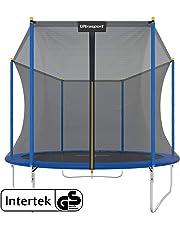 Ultrasport & trampolin.one Trampolino da giardino, trampolino per bambini, set completo inclusi tappeto elastico, rete di sicurezza e rivestimento dei bordi, 100 - 150kg, Ø183 cm - Ø305 cm