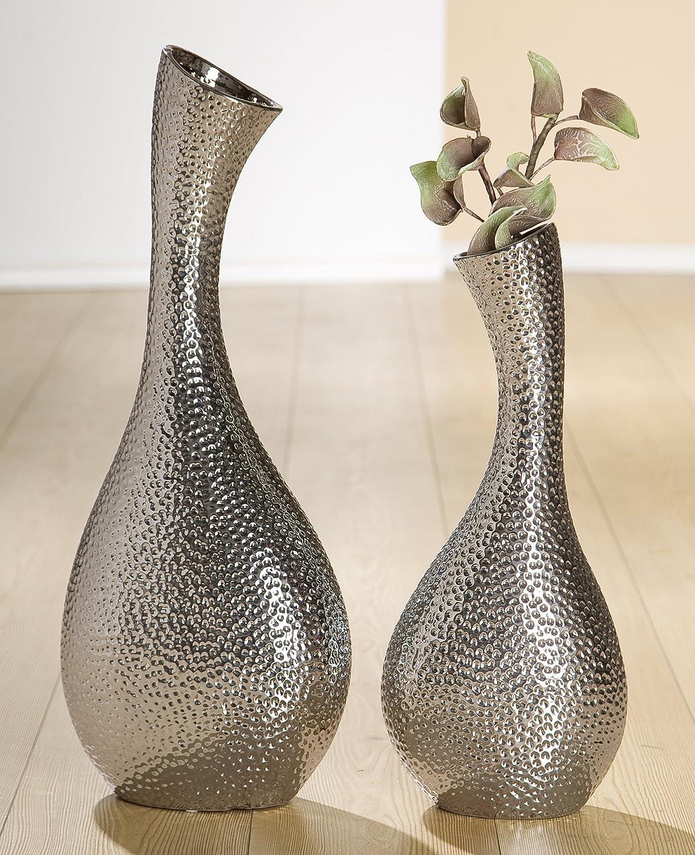 1 x Halsvase Circular Keramik silber Höhe 61 cm, Weihnachten, Tischdeko, Aufbewahrung, f. Blumen, Vase