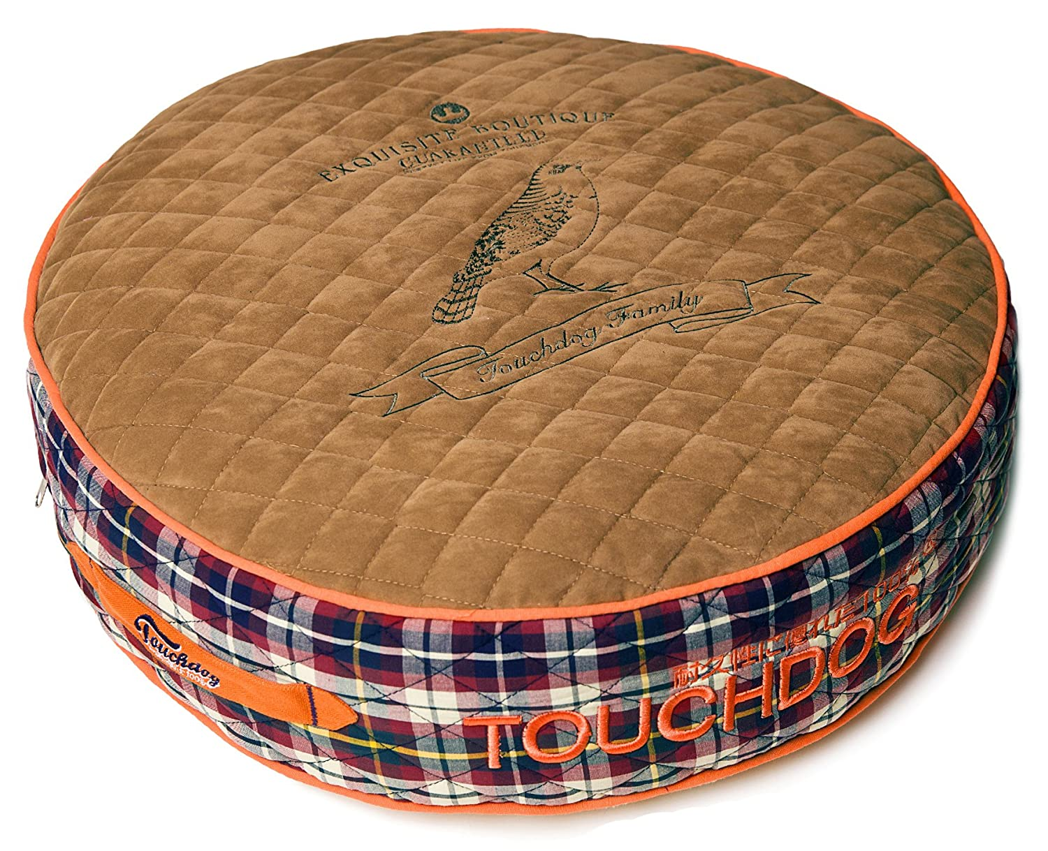 Light Brown, Cream White SM Light Brown, Cream White SM TOUCHDOG 'Bark-Royale' Posh Rounded and Raised Fashion Designer Fleece Quilted Plaid Pet Dog Bed Mat Lounge, Small, Light Brown, Cream White
