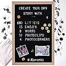 "Gadgy ® Felt Letter Board + 15 Emoji's, 10 Photo Clips, 4 Photo Corners, 680 Gold & White Letters l 12 x 18"" inch"