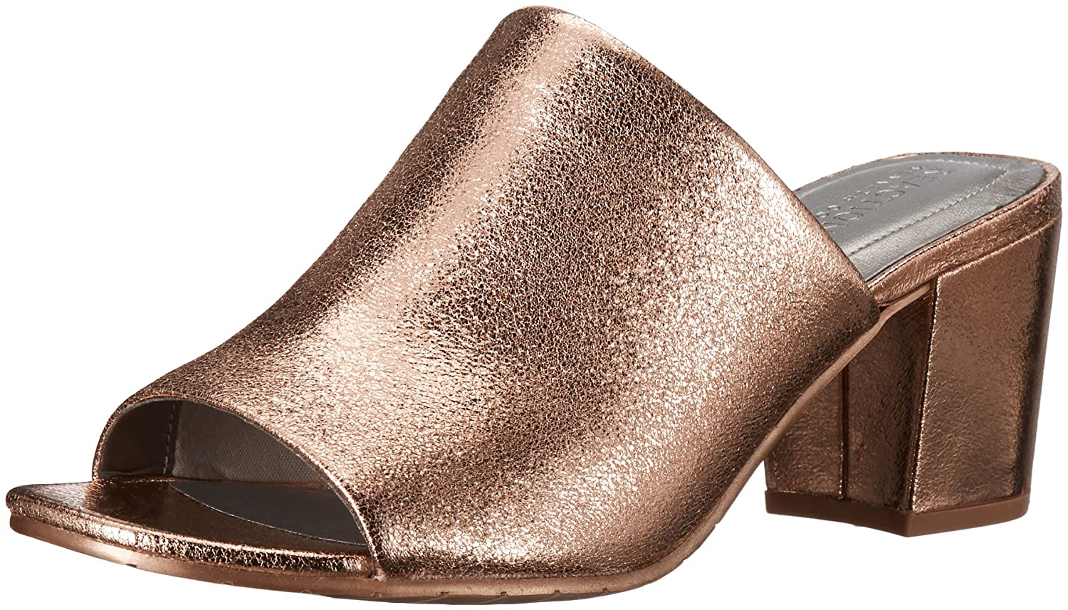 Kenneth Cole REACTION Women's Mass-TER Mind Open Toe Block Heel Metallic Slide Pump B06ZZRPZML 7.5 B(M) US|Rose Gold