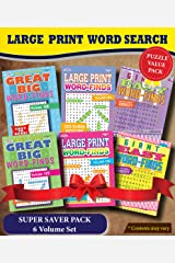 KAPPA Super Saver LARGE PRINT Word Search Puzzle Pack - (Pack of 6) Full Size Books Paperback