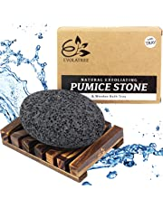 Evolatree Pumice Stone for Feet - Best Foot Scrubber Callus Remover for Dead Skin - Includes Wooden Bath Tray