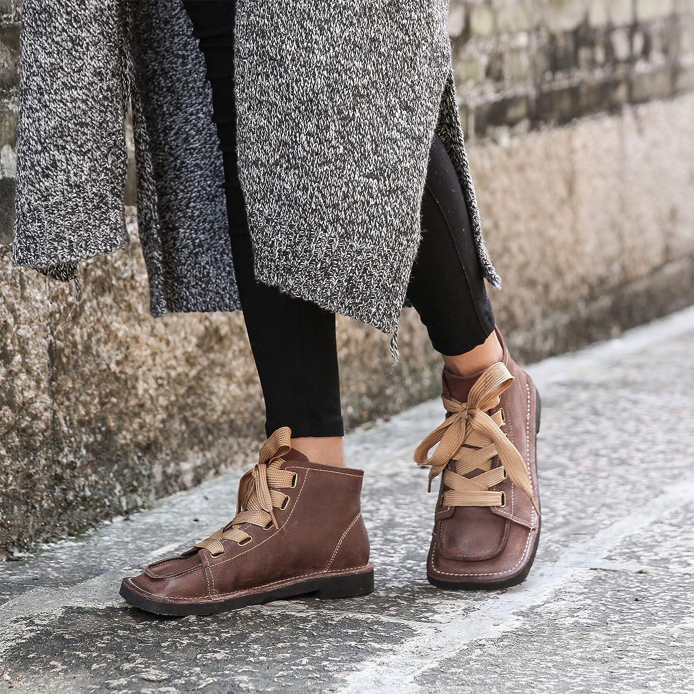 Go to Past Damen Schnürschuhe mit quadratischem und niedrigem Absatz Absatz Absatz Vintage Leder Velcro Loafer Wohnungen Stiefeletten Lässige Flache Mokassinschuhe 339e09