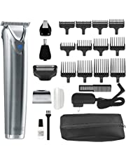 Wahl Clipper Stainless Steel Lithium Ion Plus Beard Trimmer Kit Brushed No.9864SS Cordless Rechargeable Men's Grooming Kit for Haircuts and Beard Trimming