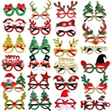Max Fun 24pcs Christmas Glitter Party Glasses Frames with 24 Designs for Christmas Party Favors Holiday Favors (One Size Fits