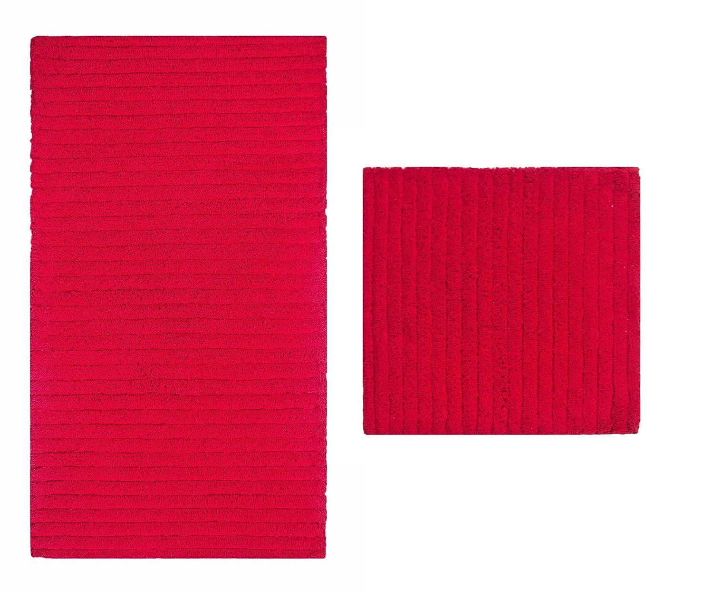 Casalanas - Levante, Moderne Streifen, Schwerer Badezimmerteppich, 100% Natur-Baumwolle, 2-teilig(60x60 + 120x70) cm, rot
