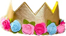 Girls Birthday Flower Crown Felt Gold Pink Princess Faux Leather Stretch Simply Gorgeous Pretend Play