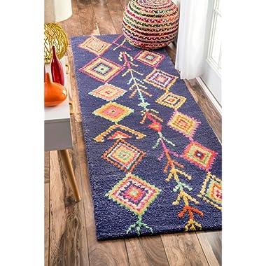 nuLOOM MJSM18B Hand Tufted Belini Wool Runner Rug, 2' 6  x 8', Navy