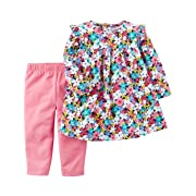 Carter's Girls' Infant and Toddler 2-Piece Long Sleeve Dress With Leggings (Pink Flowers, 3 Months)