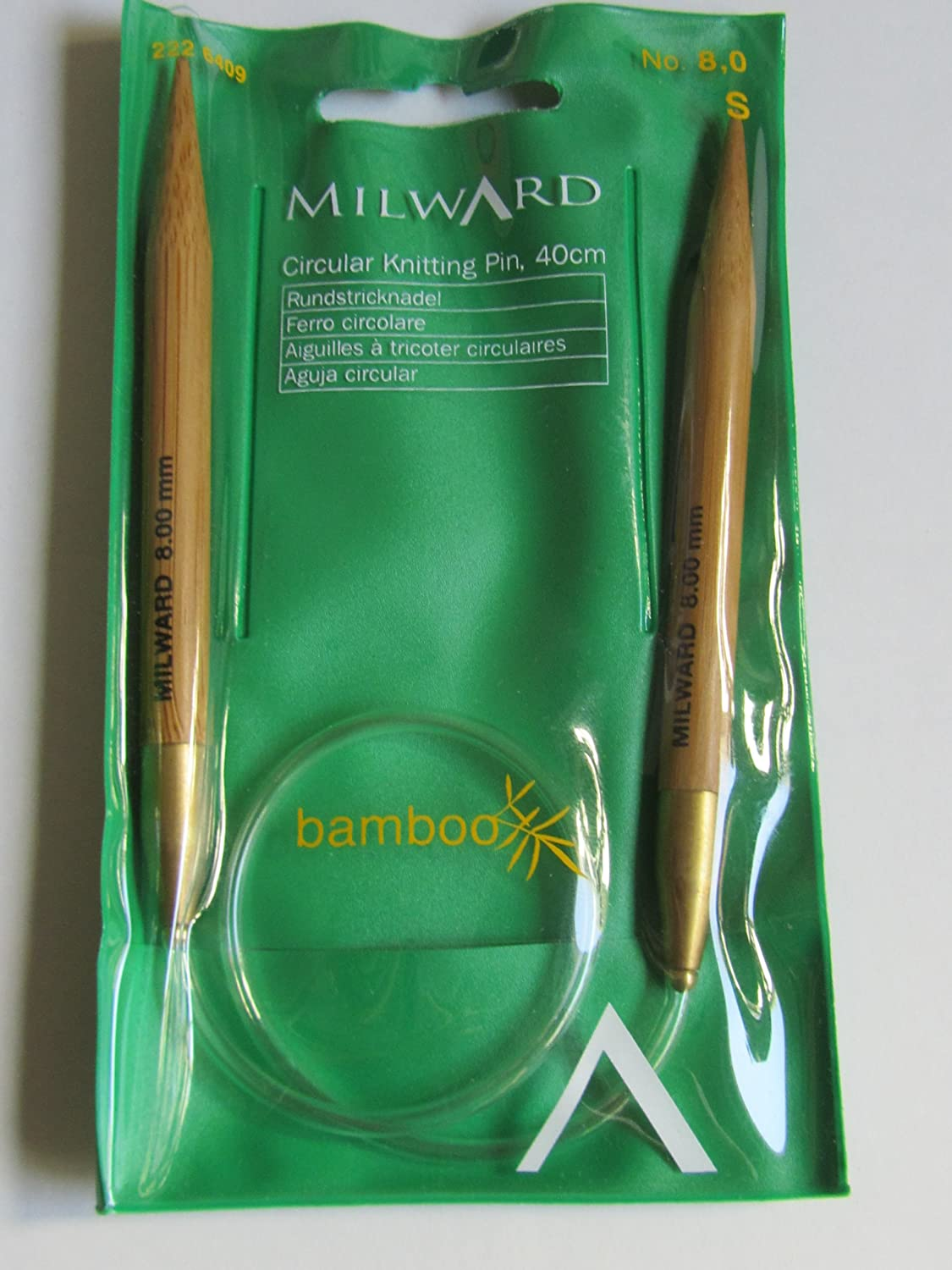 Milward Bamboo Circular Knitting Needle ; 8.0 mm Round 40 cm
