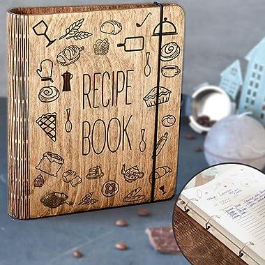 Wooden Blank Recipe Book Binder - Recipe Notebook - Family Cookbook, Journal, Sketchbook To Write In Organizer by Enjoy The Wood