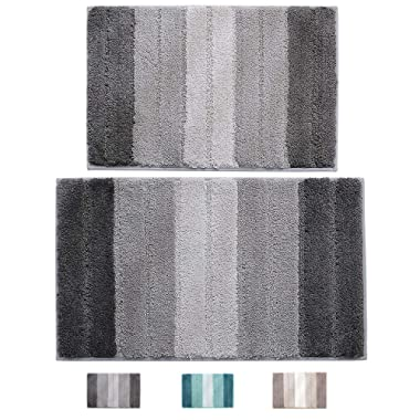 "wovwvool Bathroom Rugs Plush mat Polyester Microfiber Non-Slip,Soft,Absorbent and Machine (20""×32"" and 18""×26"" Gray)"