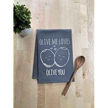Funny Kitchen Towel, Olive Me Loves Olive You, Flour Sack Dish Towel, Sweet Housewarming Gift, Gray
