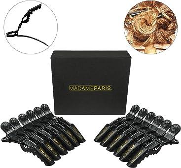madameparis madameparis – Set de 12 pinzas profesionales para cabello – Pinzas de cocodrilo Calidad Salón