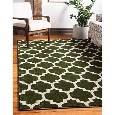 Unique Loom Trellis Collection Moroccan Lattice Dark Green Area Rug (3' x 5')
