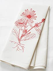 Flower Tea Towel, Organic Cotton, Calendula Botanical Print, Handmade in Maine