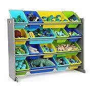 Tot Tutors WO498 Elements Collection Wood Toy Storage Organizer, X-Large, Grey/Blues