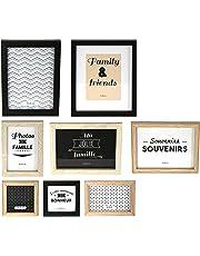 THE HOME DECO FACTORY-Juego de 8Marcos de Fotos, Madera + PVC, Negro/Blanco/marrón, 22,2x 2x 27,3cm, noir/blanc/marron