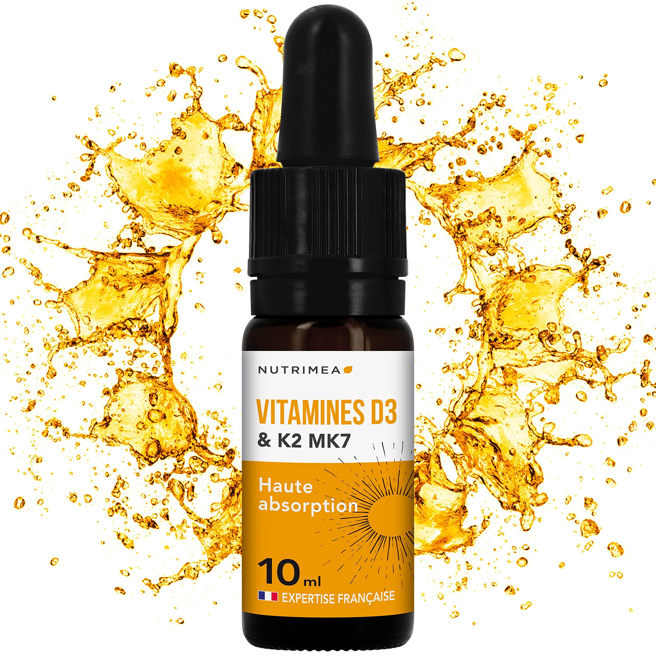 VITAMINES D3 K2 MK7 ▪️ 100% Pure et Naturelles avec Huile d'Olive Bio ▪️ Renforce l'immunité, santé dents, os, muscles▪️ Flacon compte-gouttes product image