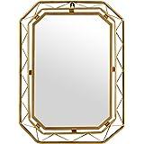 Amazon Brand – Rivet Modern Metal Lattice-Work Octagonal Hanging Wall Mirror 22.25 Inch Height, Gold Finish