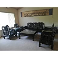 Custome China Antique Luxury Carved Ebony Wood Living Room Furniture Sets(10 Pieces)