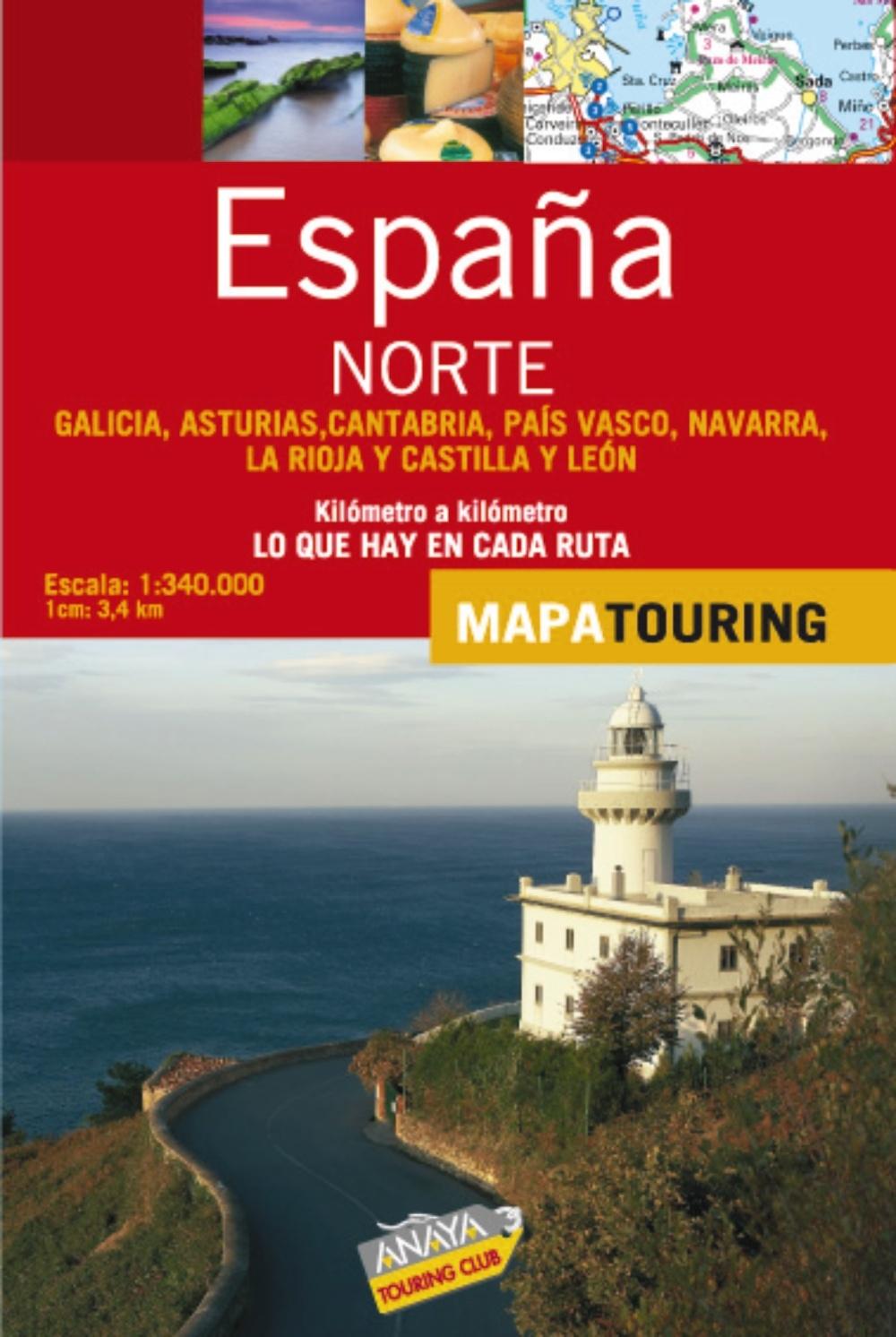 Mapa de carreteras 1:340.000 - Norte de España desplegable Mapa Touring: Amazon.es: Anaya Touring: Libros
