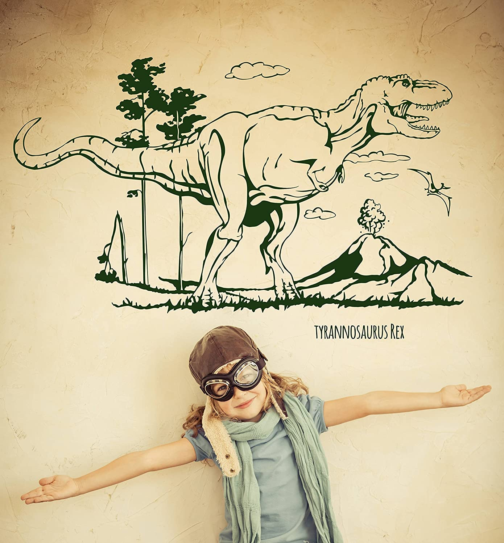 Wandtattoo Wandaufkleber Dino Saurier Dinosaurier T-Rex Tyrannosaurus Tyrannosaurus Tyrannosaurus Rex M1594 - ausgewählte Farbe  Weiß - ausgewählte Größe  L - 120cm breit x 73cm hoch B0127AOBMS Wandtattoos & Wandbilder c2ad32