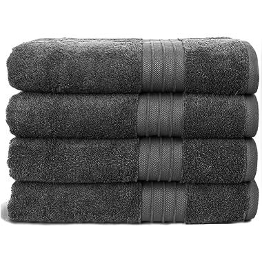 Hammam Linen Ultra Soft Turkish Bath Towels - (27 x 52 inches) - 4 Pieces Towel Set - 100% Cotton Towels (Grey)