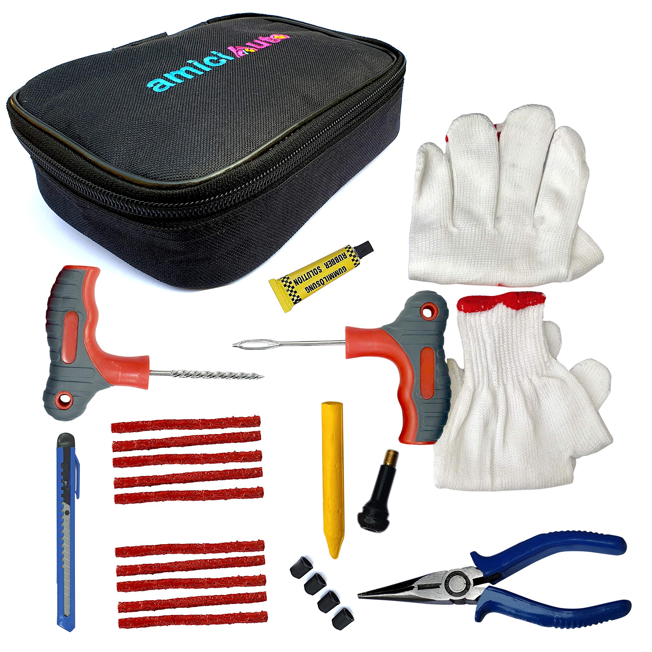 amiciAuto Tubeless Tyre Puncture Repair Complete Kit for Car and Bike (Complete Kit with Easy Storage Nylon Bag) product image