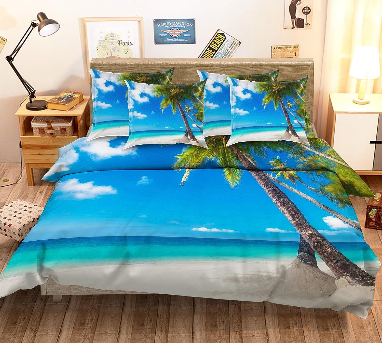 3D Blau Beach Sea Sky Coco 313 Bettwäsche-Set für Einzelbett, Queen King Größe, 3D-Foto-Bettwäsche, AJ Wallaper, UK 7, blau
