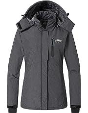 Wantdo Women s Lined Windbreaker Ski Jacket Waterproof Rain Jacket Fleece  Detachable Hood for Ladies 333660038