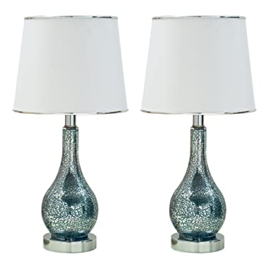 Kings Brand Ardoch Aqua Blue Glass With White Fabric Shade Table Lamps, Set of 2