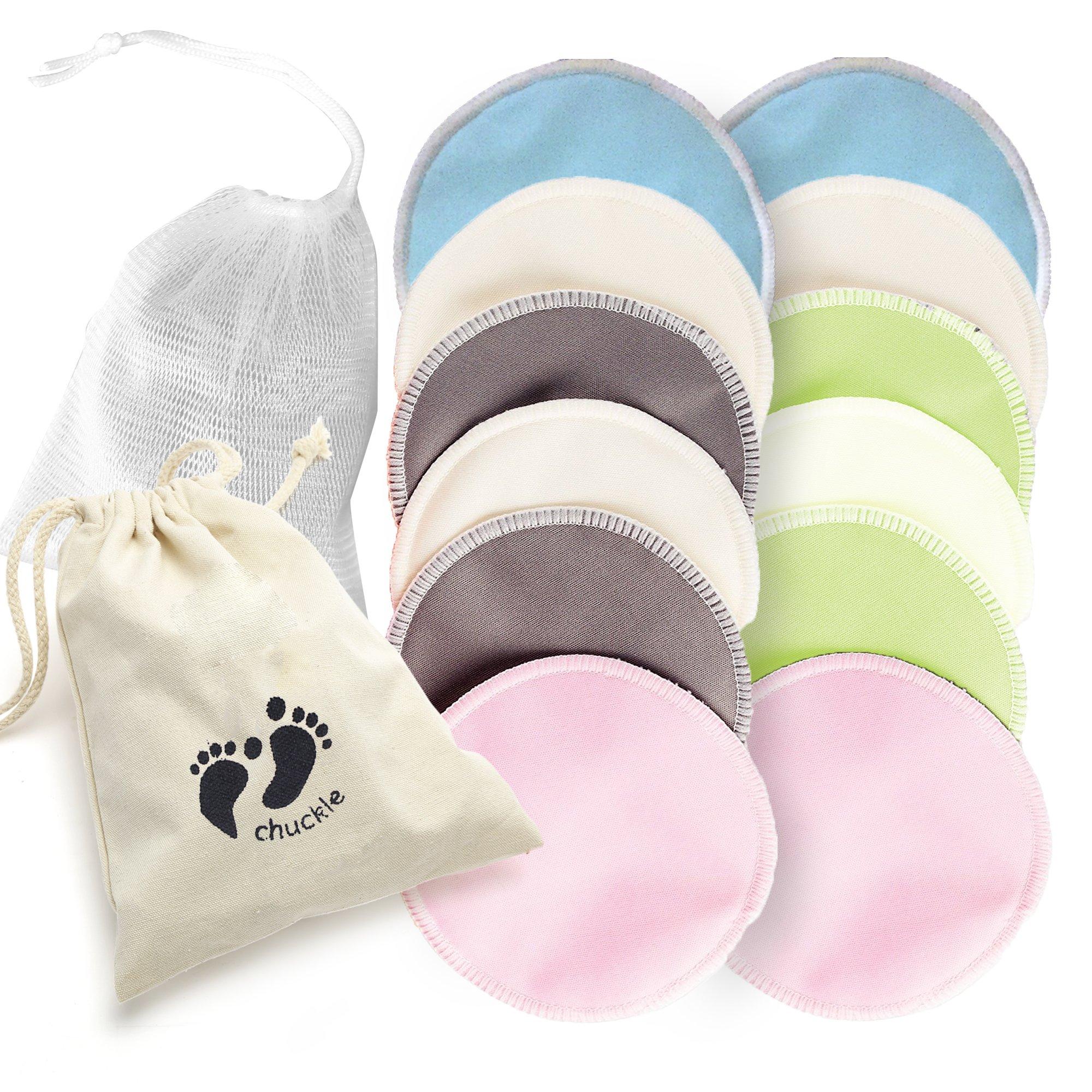 12 Premium Almohadillas de Lactancia de Bambú Orgánico - Discos Lactancia Lavables Reutilizables - Ultra Absorbente