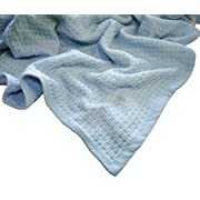 Zoog Organic Cotton Toddler Blanket Natural Dye Premium Quality GOTS Certified Non-Chemical Non-Toxic 100% Organic Cotton Soft Knitted 31  x 40  Baby Blue (Blue)