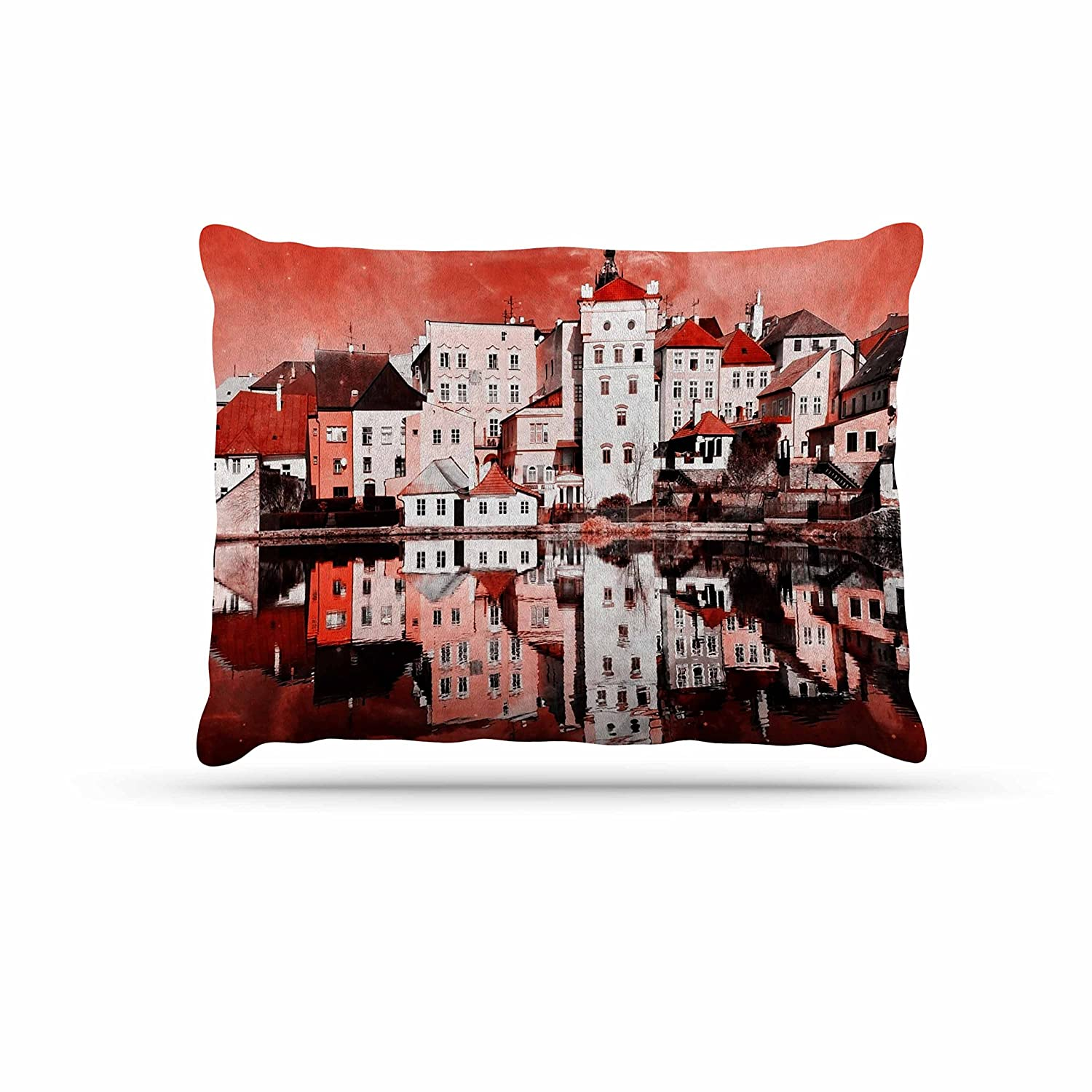 KESS InHouse Suzanne Carter Red Sky at Night Red White Dog Bed, 30  x 40