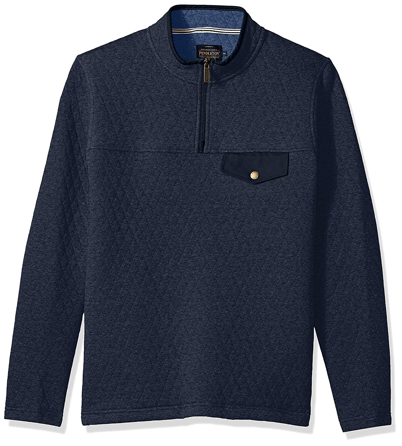 Navy Heather M Pendleton Men's Long Sleeve Steens Quilted Popover Sweatshirt