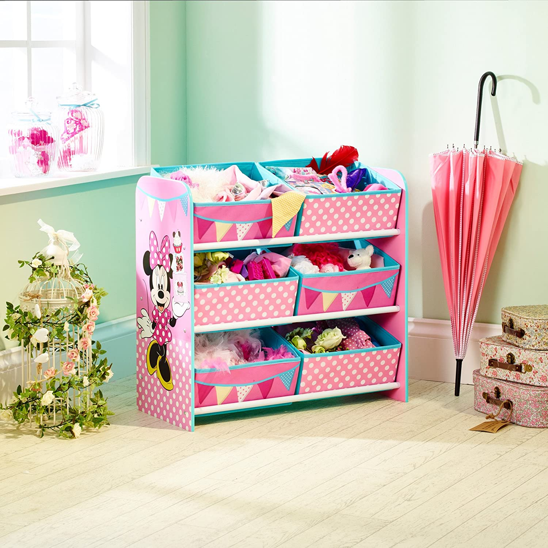 Minnie Mouse - - - Regal zur Spielzeugaufbewahrung mit sechs Kisten ...