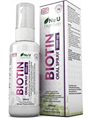 Biotin Spray 60ml | Orange Flavour Essential Supplement for Maintenance of Normal Hair, Skin and Metabolism Providing 70 Day's Supply | Suitable for Vegetarians & Vegans by Nu U Nutrition