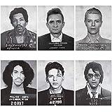 Celebrity Mugshot Poster Vintage Rock Posters - 8x10 UNFRAMED - Jimi Hendrix Poster David Bowie Poster Johnny Cash Elvis Pres