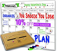 Dry Erase Monthly Magnetic Calendar Planner Set, W/extra Meal Planner, Magnetize To Kitchen Refrigerator, Flexible, In a Highly Designed Stiff Box For Home or Office. White, 16''x12''. By BIGGAHOME